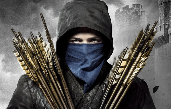 Picture look, background, jacket, hood, fortress, arrows, adventure, poster, shawl, Robin Hood, black-and-white background, Taron Egerton, …