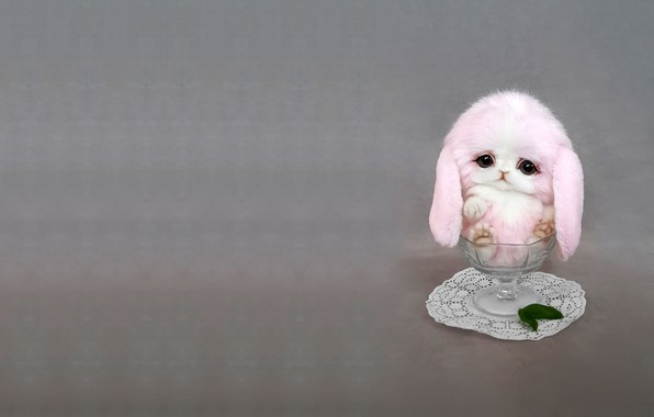 Picture glass, art, Bunny, children's