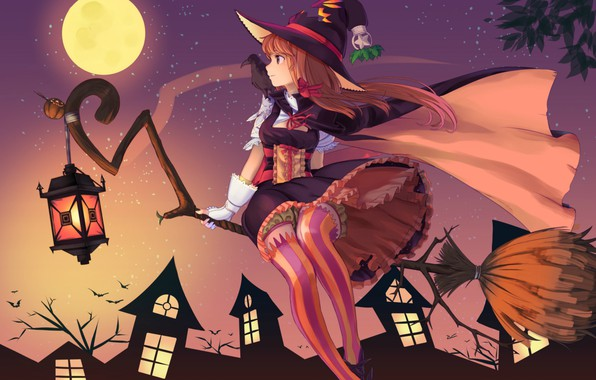 Picture night, lantern, broom, bats, Raven, the full moon, art, witch, striped stockings, witch hat, witch, …