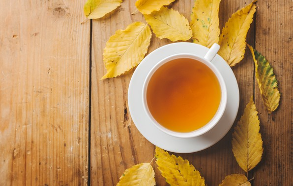 Picture autumn, leaves, yellow, yellow, wood, autumn, leaves, cup, autumn, tea, Cup of tea