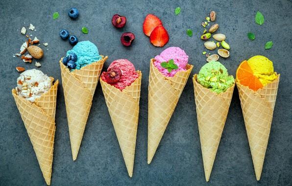 Picture berries, ice cream, nuts, sweet, dessert, pistachios, ice cream, waffle cone