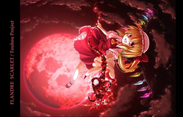 Picture the full moon, madness, art, vampire, Touhou Project, gray clouds, black magic, blood Moon, Flandre …