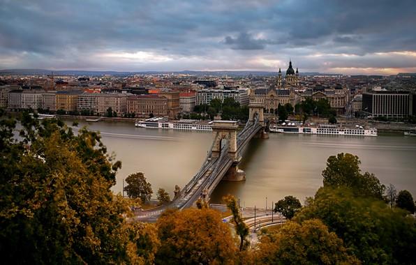 Picture Hungary, Budapest, Chain Bridge, St. Stephen's Basilica