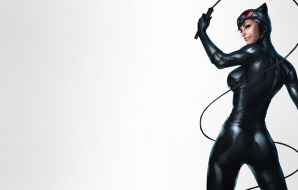 Picture Beautiful, Art, Smile, Woman, Comics, Suit, Catwoman, Selina Kyle, Glasses, Gloves, Whip, DC comics, Leather, …