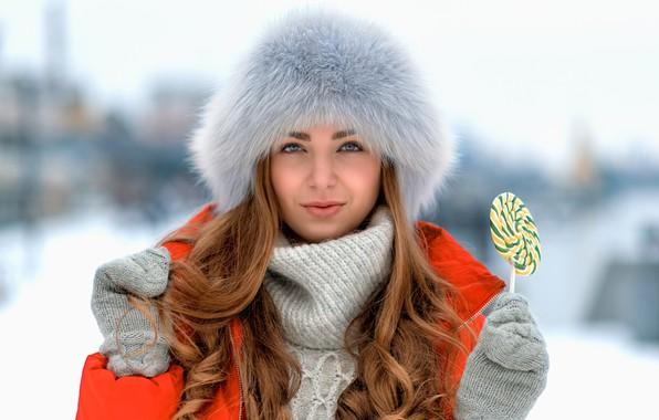 Picture look, girl, face, hat, portrait, Lollipop, candy, long hair, mittens, bokeh, Sergey Fediv, Sin Flow