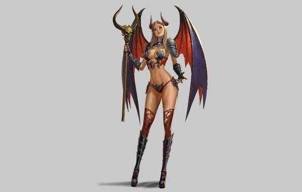 Picture Girl, Fantasy, Beautiful, Art, Style, Sake, Minimalism, Demon, Characters, Wings, Horns, Figure, Donfoo, GUILD OF ...