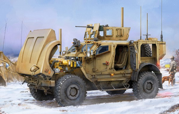 Picture MRAP, modern American wheeled armored car, Mine Resistant Ambush Protected, Oshkosh M-ATV