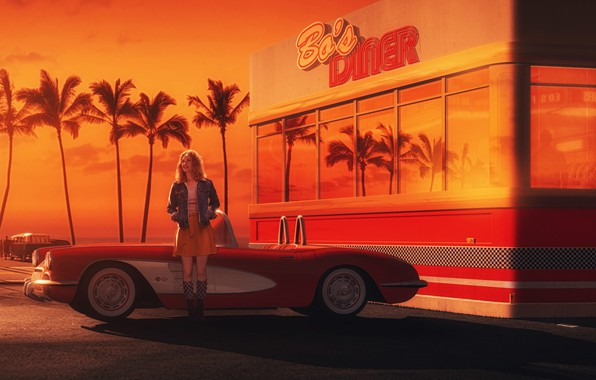 Picture Girl, Auto, Chevrolet, Retro, Machine, Art, Chevrolet Corvette, 1962, Gran Turismo 6, Debora, Transport & …