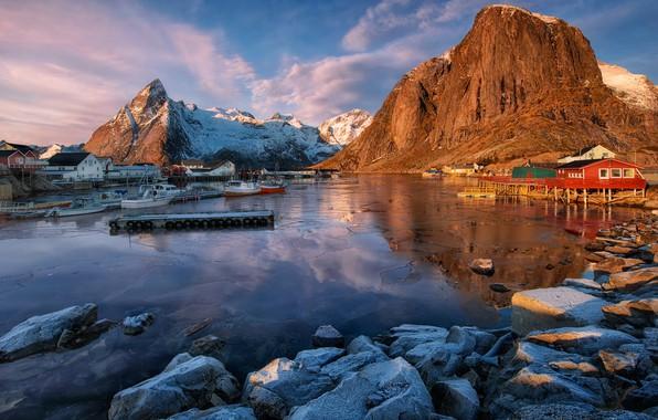 Picture winter, frost, the sky, clouds, landscape, mountains, blue, nature, reflection, blue, stones, rocks, blue, blue, …
