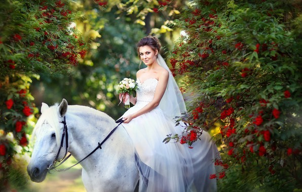 Picture autumn, white, girl, flowers, smile, Park, mood, horse, white, horse, bouquet, dress, the bride, Rowan, …