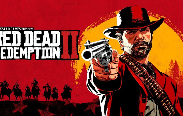 Picture The game, Forest, Horse, Cartridges, Hat, Beard, Jacket, Revolver, Character, Shoots, Rockstar Game, Red Dead …