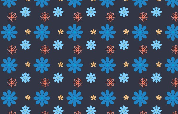 Picture flowers, blue, design, background, texture