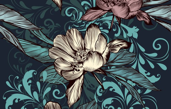 Picture flowers, retro, background, vintage
