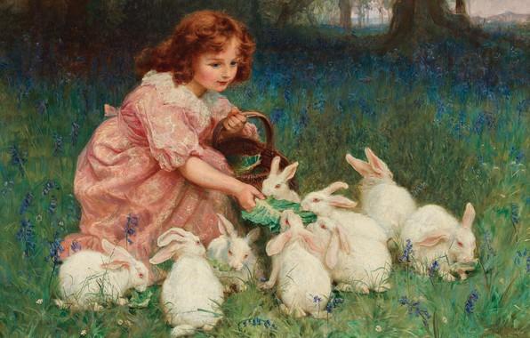Picture Alice in Wonderland, Alice in Wonderland, British painter, British painter, Frederick Morgan, Frederick Morgan, oil …