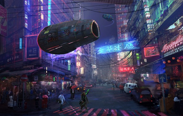 Picture Auto, The city, Future, Neon, Street, People, Movement, Machine, Building, City, Architecture, Cars, Auto, Street, …
