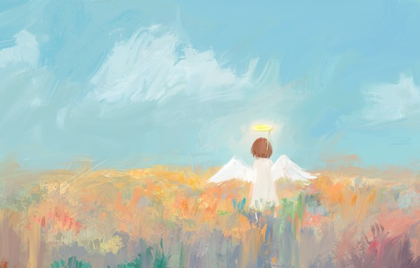 Picture the sky, grass, angel, girl