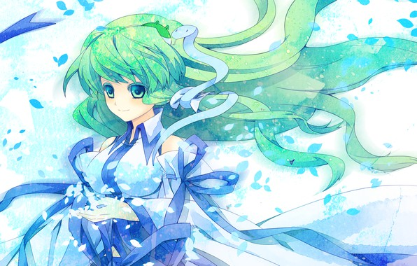 Picture tape, petals, priestess, green hair, art, big eyes, Kochi Have Done The Art, white snake, …