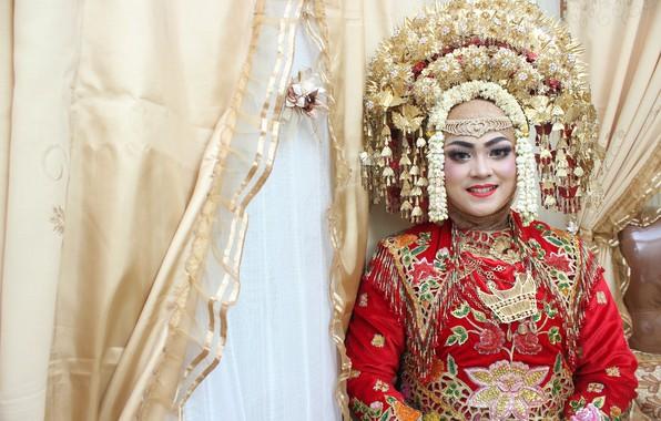 Picture woman, portrait, art, wedding, West Sumatra, ethnic
