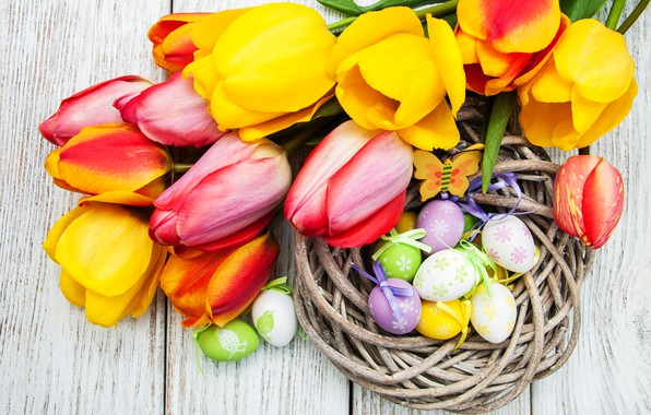 Picture flowers, eggs, colorful, Easter, tulips, happy, yellow, wood, pink, flowers, tulips, Easter, eggs, decoration