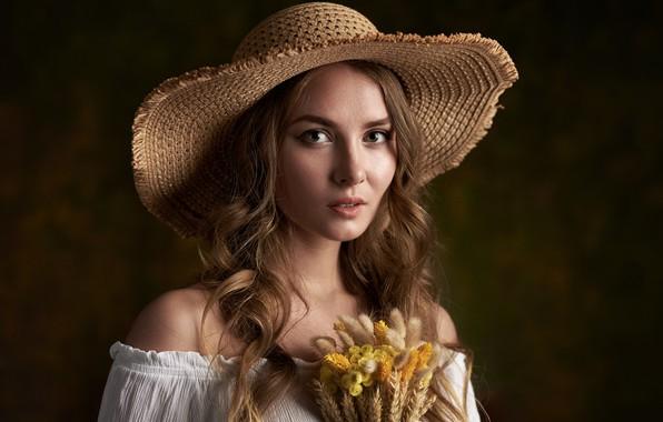 Picture girl, hat, a bunch, artistic portrait, Max Fawn, Kate Halpert