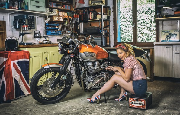 Picture woman, garage, motorcycle