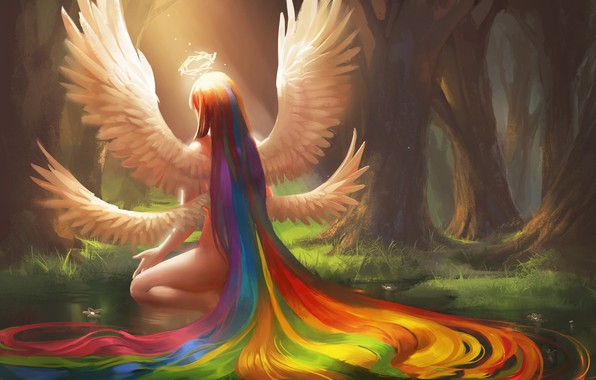 Picture forest, girl, wings, rainbow, art