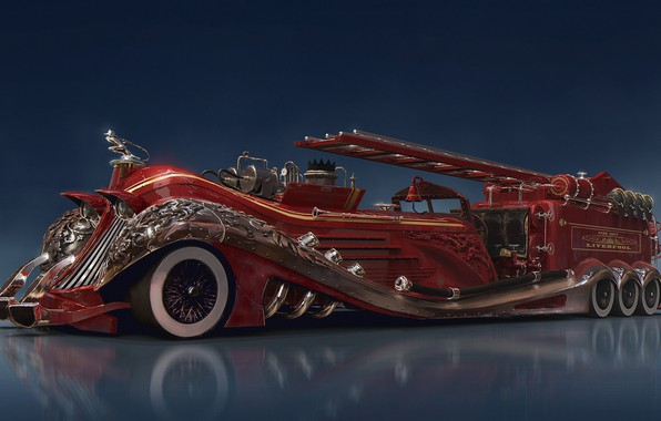 Picture reflection, car, firefighter, equipment, Steampunk car concept