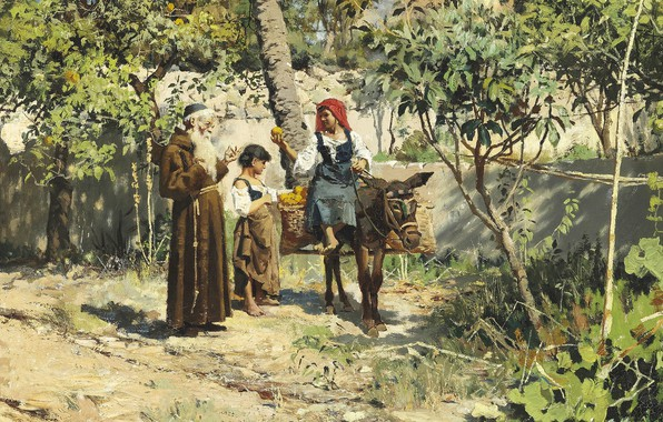 Picture 1886, Danish painter, Peter Merk Of Menstad, Peder Mørk Mønsted, Danish realist painter, oil on …