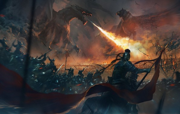 Picture twilight, dragons, army, armor, battle, the battle, riders, knights, battlefield, art, banner, cruise, fire-breathing dragon, …