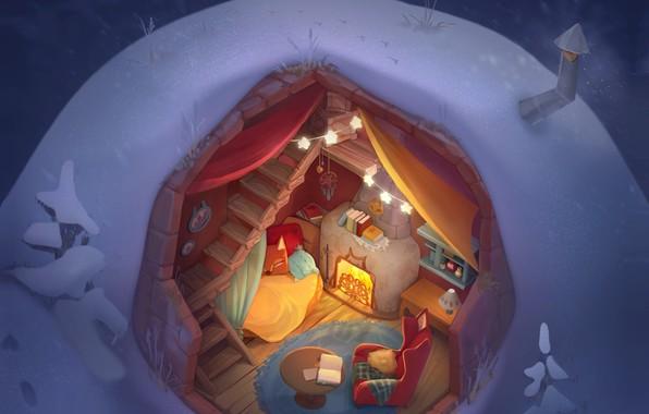 Picture comfort, heat, room, holiday, art, New year, house, children's, St., hut, smirnovschool, Ulyana Konichenkova