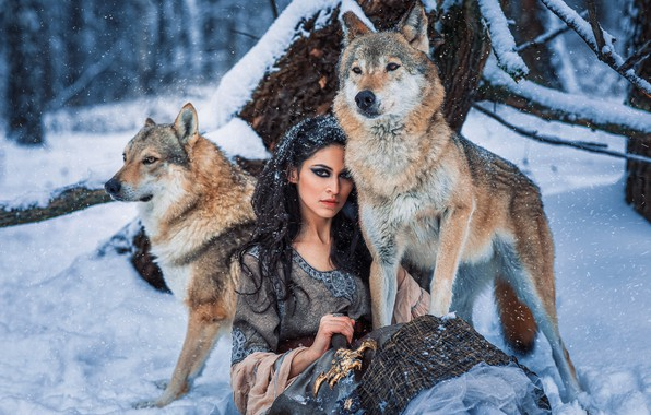Picture winter, forest, look, girl, snow, dress, brunette, wolves, Алёна Беляева, by Александра Савенкова