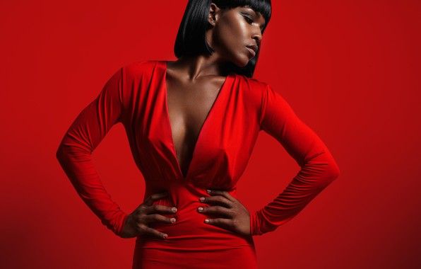 Picture pose, background, model, makeup, figure, dress, brunette, hairstyle, is, in red, red background, African-American