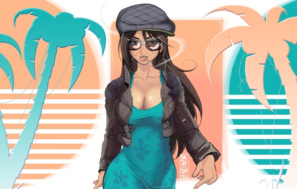 Picture Girl, Figure, Palm trees, Art, Art, Cigarette, Synth, Retrowave, Synthwave, madeinkipish, Comic Art, by Maku …
