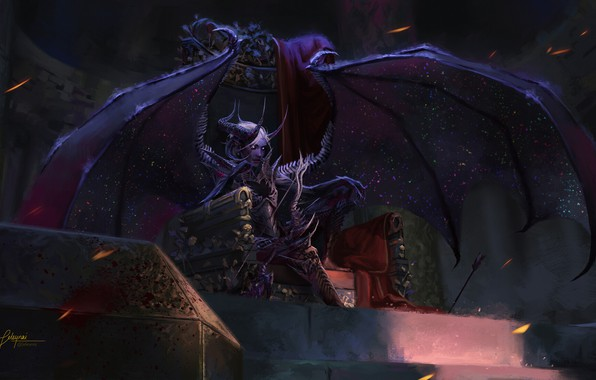 Picture look, wings, the demon, fantasy, art, the throne