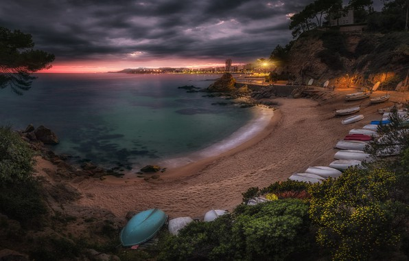 Picture sea, beach, landscape, clouds, coast, boats, Spain, Catalonia, Lloret de Mar, Lloret de Mar