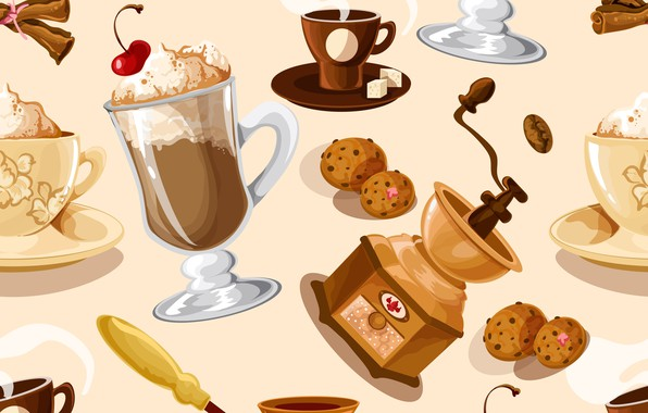 Picture background, coffee, texture, dessert, pattern, Coffee, seamless