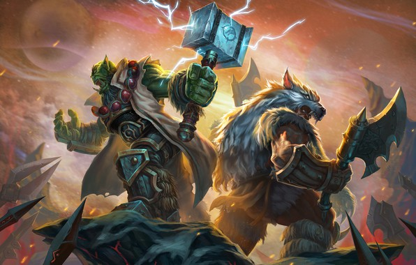 Picture Figure, The game, Blizzard, Art, Orc, Fiction, WarCraft, Thrall, Thrall, WarCraft 3, Rexxar, Rexxar, Warcraft …