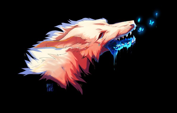 Picture face, mouth, grin, black background, witchcraft, mucus, fox demon