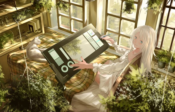 Picture bike, books, girl, plaid, blue eyes, tablet, draws, in the room, shelves, grey cat, plants, …