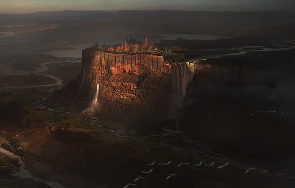 Picture castle, waterfall, fantasy, art, citadel, Illustration, environment, Morgan Yon