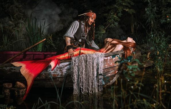 Picture girl, boat, mermaid, fantasy, male, Jack Sparrow, Александра Савенкова