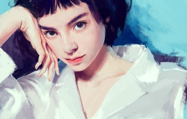 Picture face, hand, black hair, art, bangs, portrait of a girl, white blouse, Klara Blanc, Arkamness
