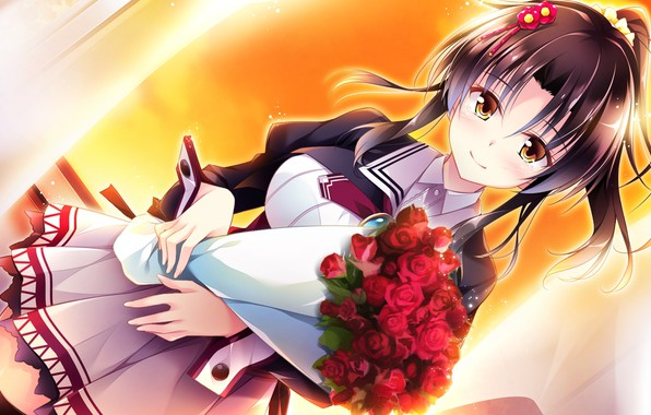 Picture smile, schoolgirl, bangs, visual novel, red roses, bouquet of roses, by Masato Satofuji, Golden Marriage, …