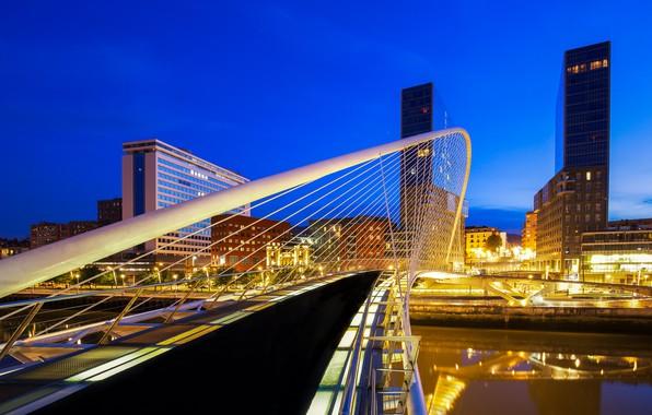 Picture bridge, lights, the evening, Spain, Bilbao, Zubizuri