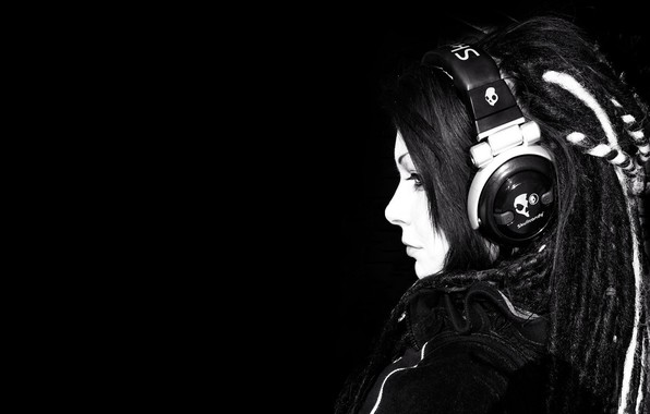 Picture girl, headphones, black background
