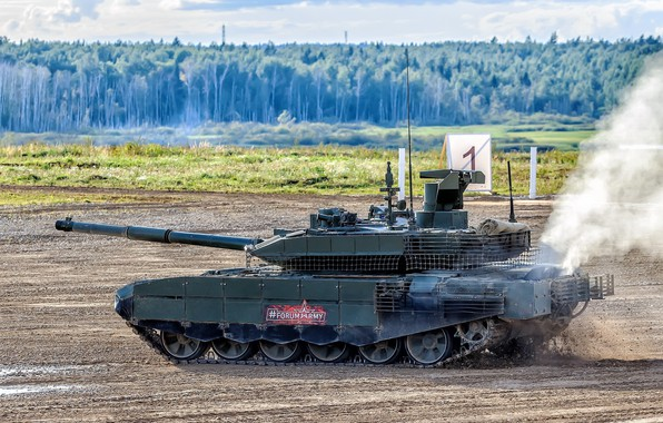 Picture polygon, upgraded, Forum «ARMY 2018», Russian tank, T-90AM, demonstration of military equipment