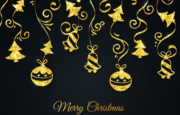 Picture decoration, gold, pattern, New Year, Christmas, golden, black background, Christmas, background, pattern, New Year, decoration, ...