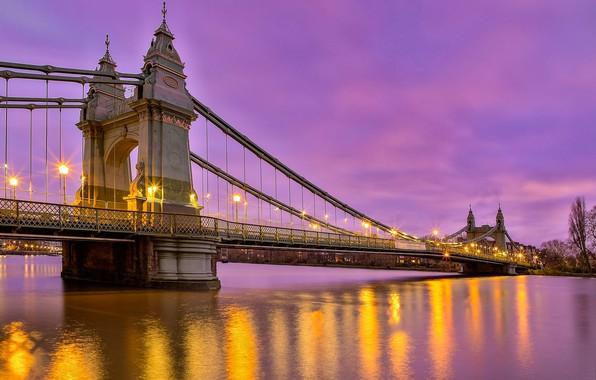 Picture bridge, river, England, London, the evening, lights, London, England, River Thames, Hammersmith Bridge, The River …