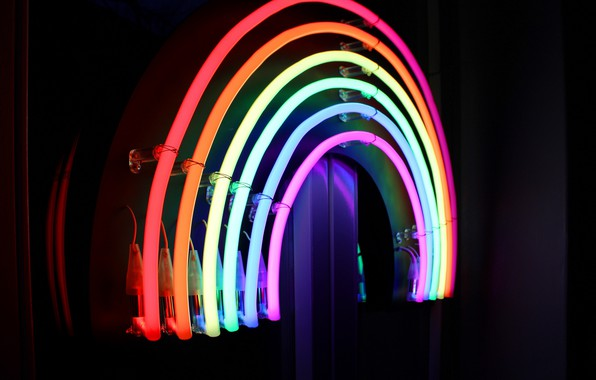 Picture lights, colorful, rainbow, lines, macro, neon, lamp, bright, gay pride
