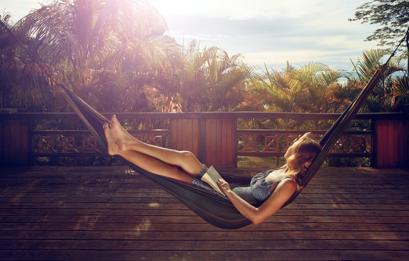 Picture woman, book, reading, hammock, rest